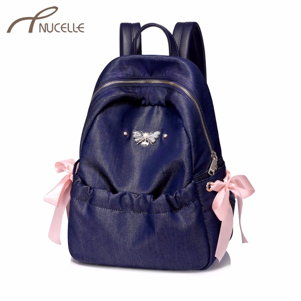 NUCELLE Women's Denim Fabric Backpack Ladies Fashion Bee Double Shoulder Bags Female Ribbons Bow Brand Rucksack High Quality