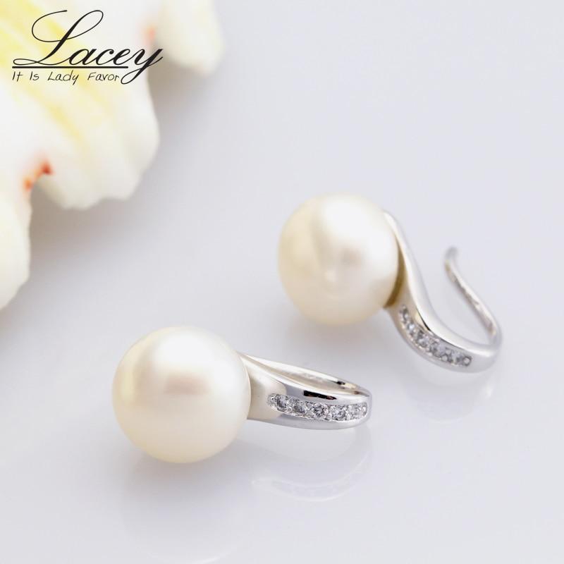 Słodkowodne prawdziwe kolczyki dla kobiet, kolczyki ze srebra próby - Wykwintna biżuteria - Zdjęcie 3