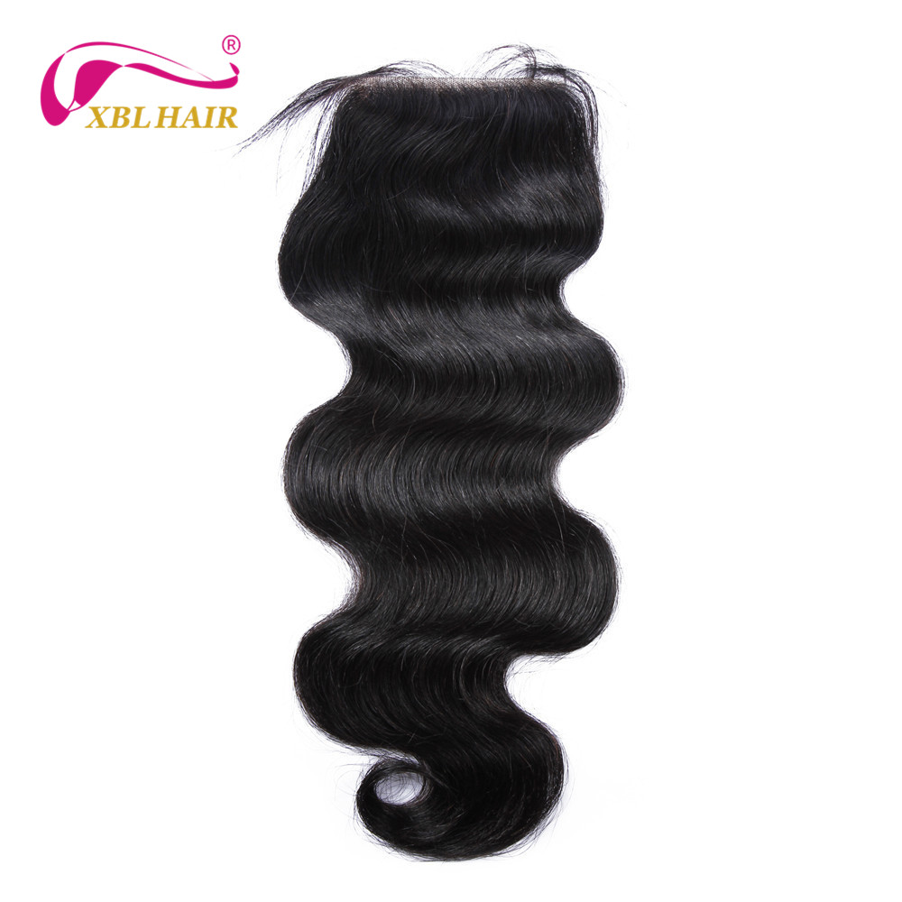 XBL HAIR Body Wave Peruvian Remy Human Hair Free Part Lace Closure 4*4 Free Shipping
