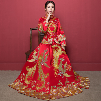 Vintage Royal Women Marriage Cheongsam Suit RED Phoenix Chinese Bride Wedding Dress High Quality Embroidery Qipao Vestidos