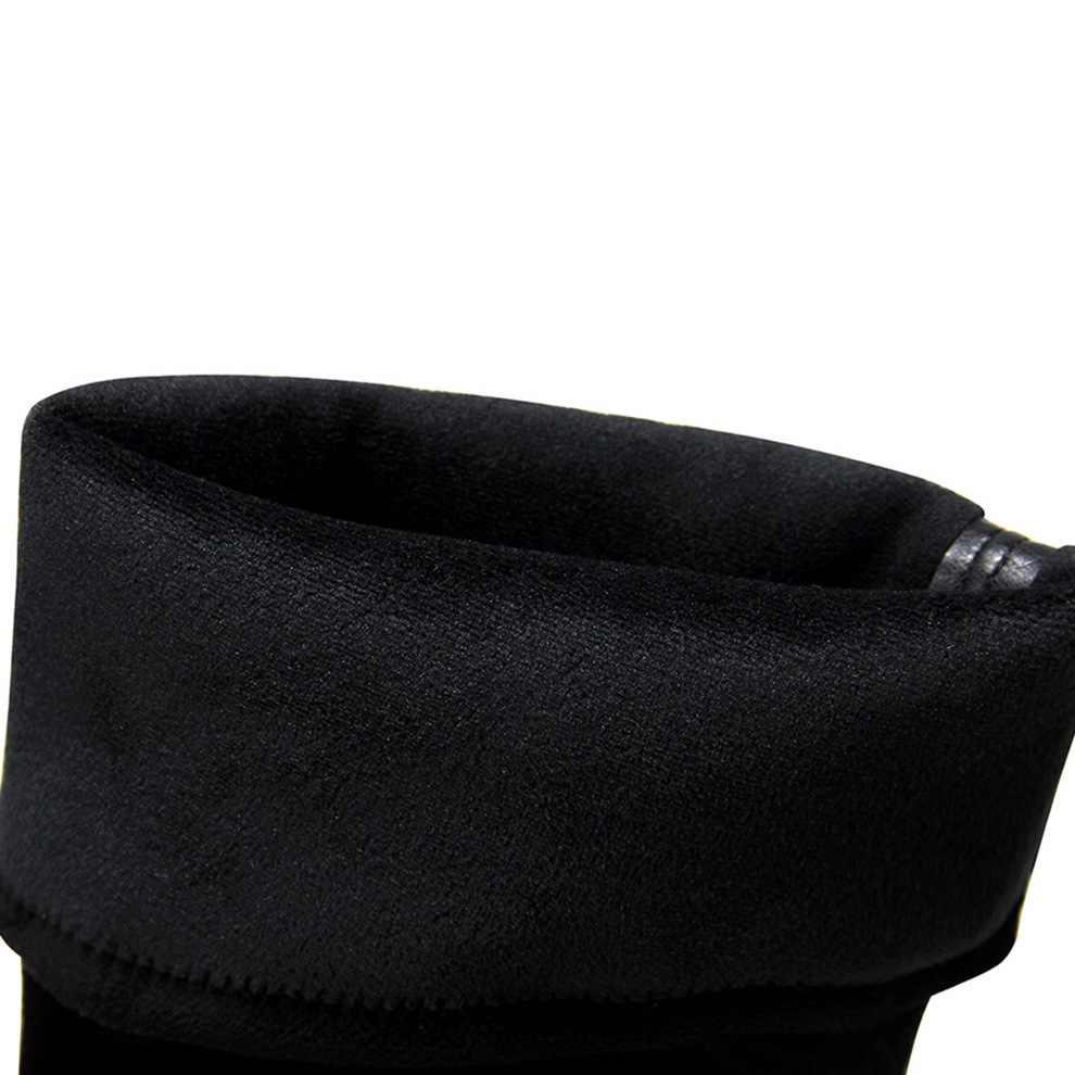 รองเท้าผู้หญิงฤดูหนาวรองเท้าสีดำ plush ที่มีชื่อเสียงยี่ห้อ gogo รองเท้าชี้ Toe suede เซ็กซี่รองเท้าส้นสูง 12 เซนติเมตร over - the - เข่า