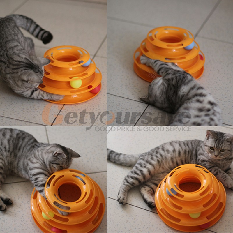 New Creative Pet Cat Toy Luxury Cat Interactive Pet Toy Training Amusement Plate Trilaminar Crazy Ball Disk Play Activity Game