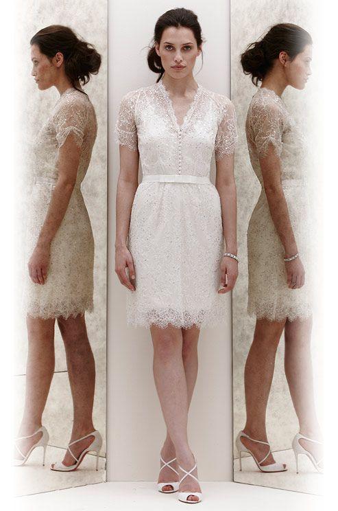 4559a1d21a Short Summer Beach Wedding Dresses Lace Beaded Sash V Neckline Knee ...