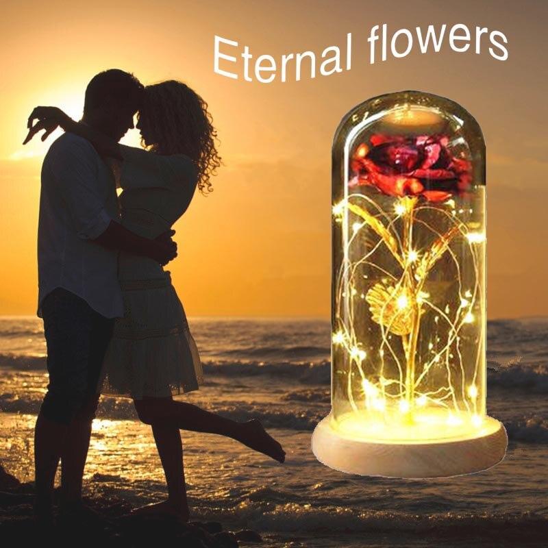Luz LED rojo Ro se púrpura Ro se en la cúpula de cristal regalo de San Valentín regalo del Día de la madre