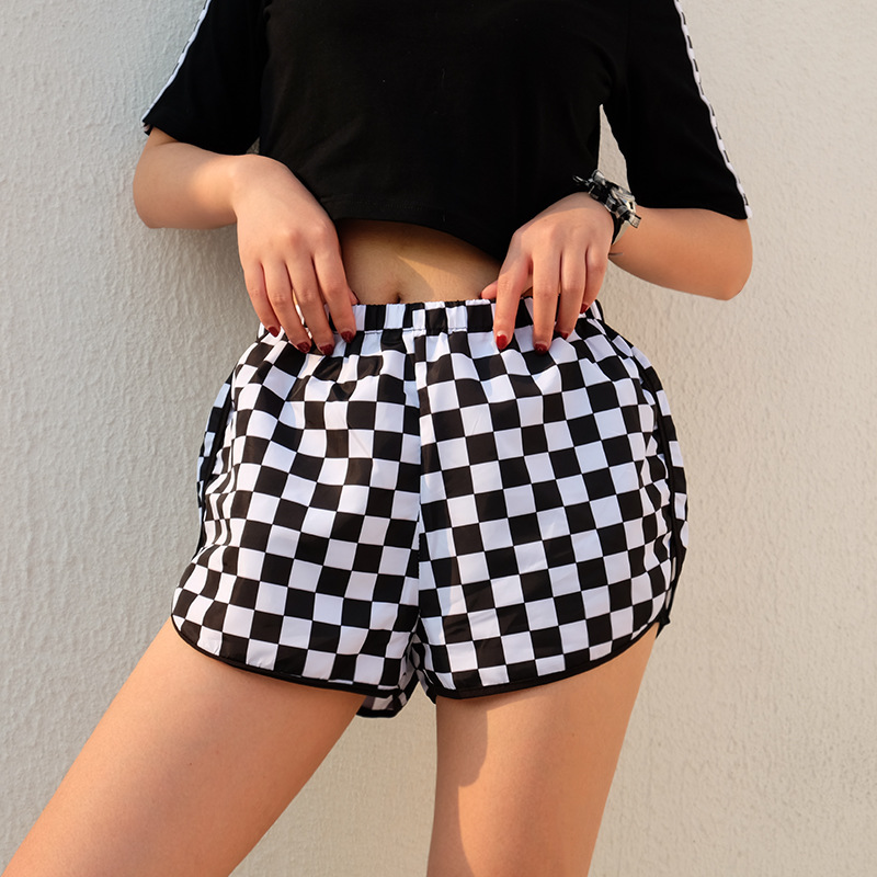 Black white checked printing checkerboard Women Fitness   Shorts   Workout Elastic Waist Sporting   Shorts   Women Loose Female   Shorts