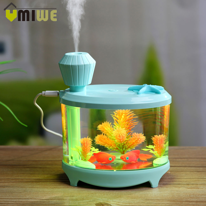 460ML Fish Tank Air Humidifier USB Charge Aroma Diffuser Essential Oil Diffuser LED Night Light Mist Maker for Home Office Room 500ml usb air humidifier essential oil diffuser mist maker fogger mute aroma atomizer air purifier night light for home