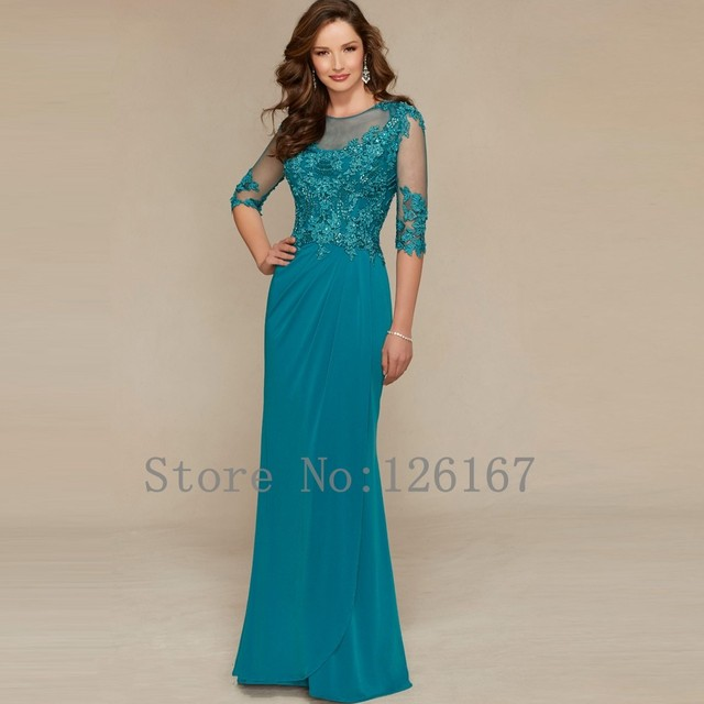 e3938f3507 Turquoise Chiffon evening Dress 2017 New Mother of The Bride Dresses Illusion  Half Sleeves Sweep-train Evening Dresses CGE216