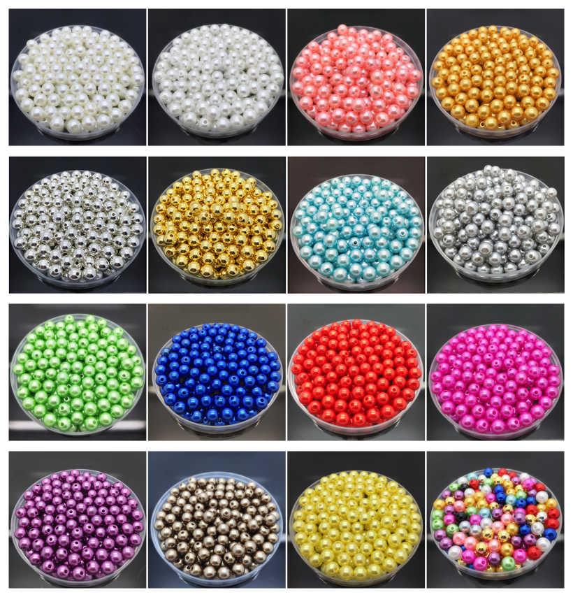 4 6 8 10mm perles d'imitation acrylique ronde perle entretoise perles en vrac bijoux à bricoler soi-même faisant collier Bracelet boucles d'oreilles accessoires