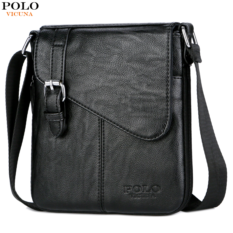 VICUNA POLO Simple Design Classic Men Travel Messenger Bag Leather Crossbody Bags With Belt Buckle Small Casual Men Shoulder Bag