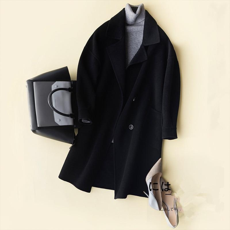 Femelle pourpre Cachemire Veste Printemps Casaco Coffee Mode Laine noir bleu Manteau 100 Femmes Élégant D'hiver Manteaux 2018 Mince Nouvelle F11229 Feminino Xq7twROxx4