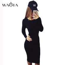 купить WAQIA Fashion 2018 Women Long Sleeve Bodycon O-neck Casual Dress Summer Vintage Sexy Party Dress Autumn Spring Clothes Vestidos по цене 319.79 рублей