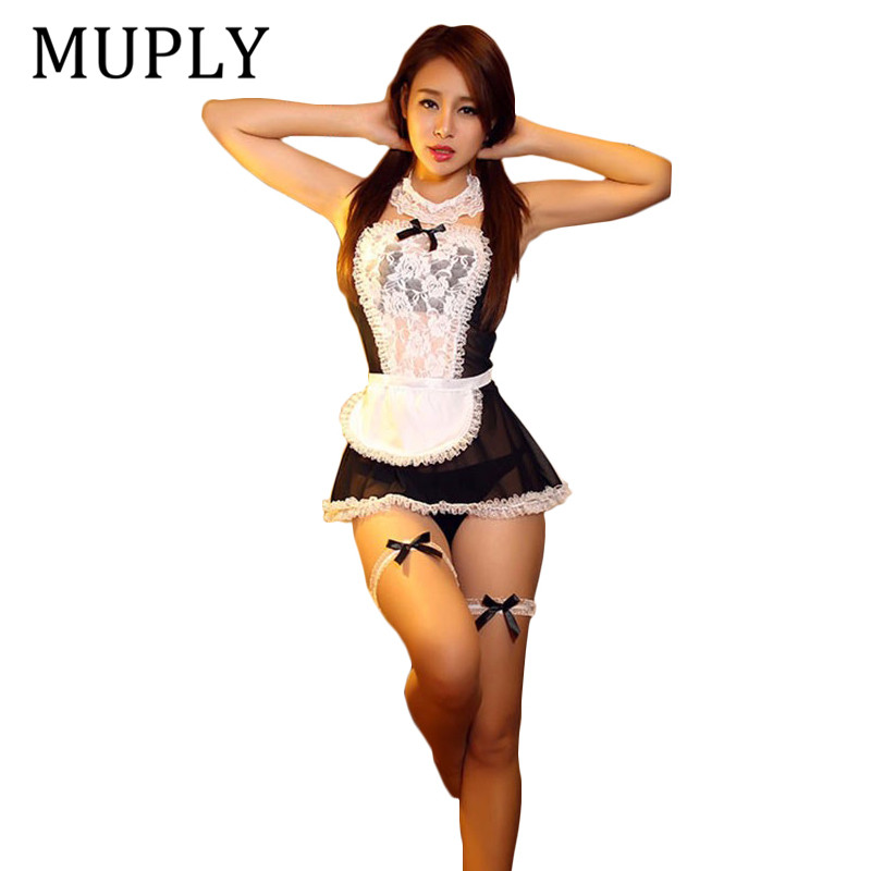 MUPLY 2019 New Bow Lace Lingerie Women French Maid Cosplay Sexy Lingerie Hot Transparent Costumes Erotic Lovely Maid Costumes
