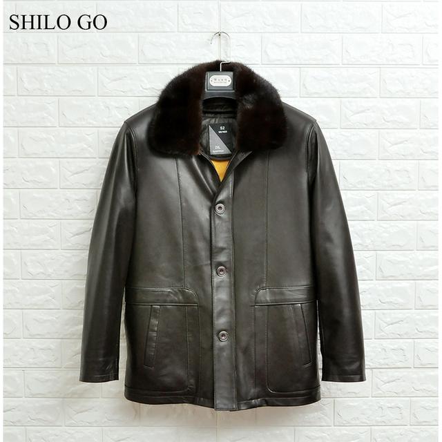 SHILO GO Leather Jacket mens Winter Fashion sheepskin genuine leather coat Mink collar fur lining warm single breasted straight