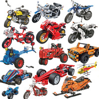 Технический мотоцикл вертолет экскаватор для машинки строительные блоки Совместимые Legoing город DIY Кирпичи Классические игрушки для детей П...