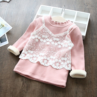 New 2017 winter girl baby lace long sleeve T-shirt children's soft tops baby kids thickening warm bottoming shirts tees