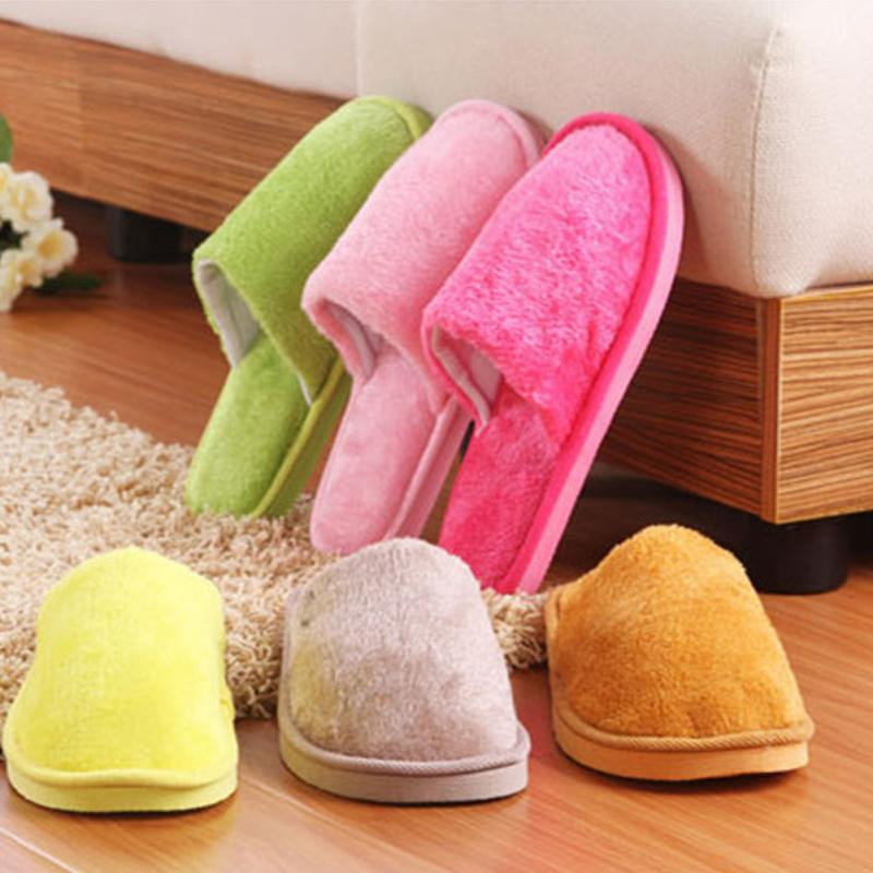 Soft Plush Cotton Cute Slippers Shoes Non-Slip Floor Indoor Home Furry Slippers Men Shoes For Bedroom