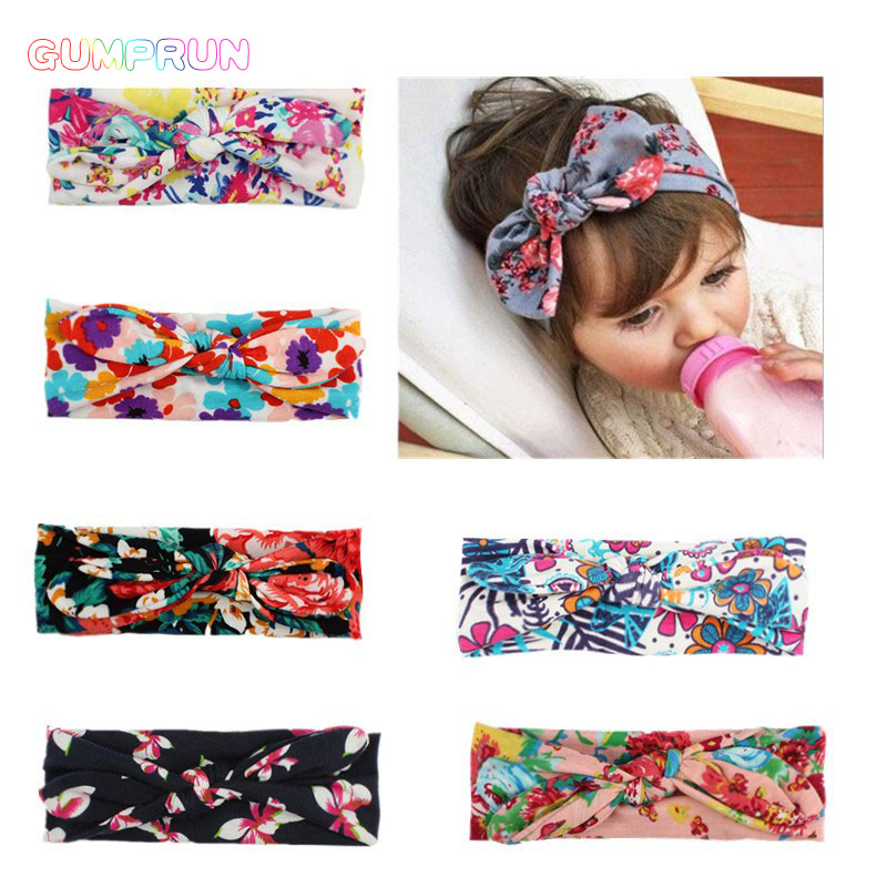 GUMPRUN Girl Cute Floral Boho Newborn Toddler Headband Ribbon Elastic Baby Headdress Kids Hair Band Girl Bow Knot 7 Colors two tone knot elastic hair band