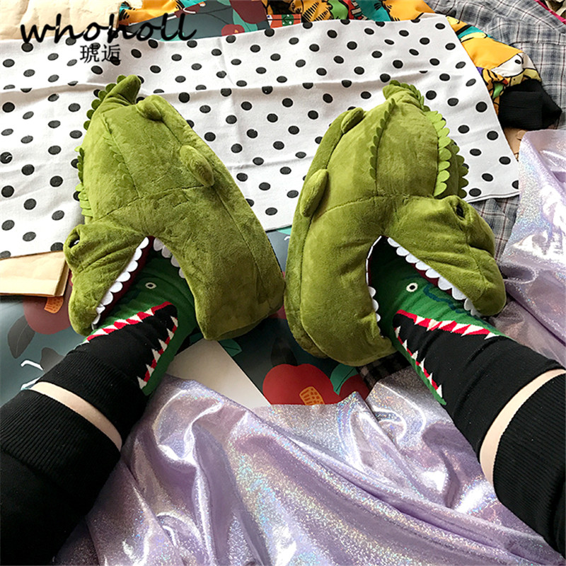 Winter Super Animal Funny Shoes For Men Warm Soft Bottom Home&House The Couple Indoor Floor Shark Shape Furry Slippers Shallows