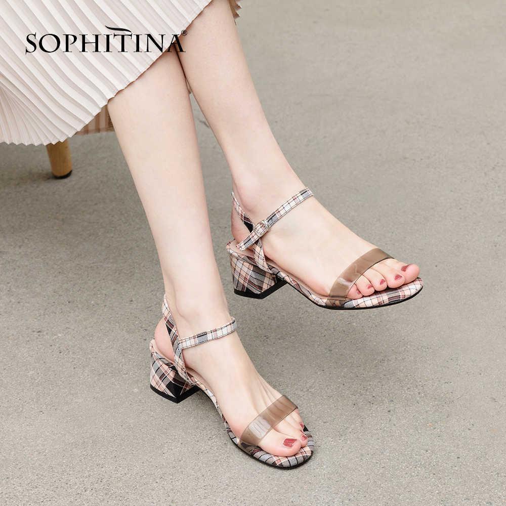 SOPHITINA Renkli Topuk Sandalet Yüksek Kalite Kenevir El Yapımı Moda Şemsiye Bayan Ayakkabıları Kare Ayak Sandalet PO134