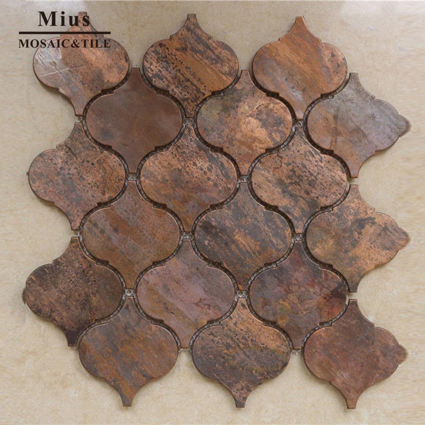 Antique Lantern Metal Copper Mosaic Brass Tile For Kitchen  Wall Decoration