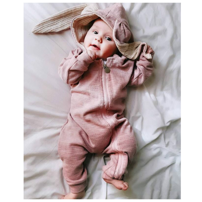 Autumn Winter Baby Rompers Hoodied Cute Cartoon Rabbit Ear Newborn Girl Boy Toddler Fleece Jumpers Kids Bunny Costume Warm Coats цены