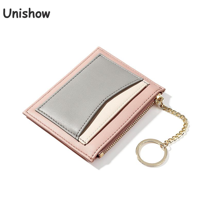 Unishow Fashion Panelled ID Card Holders Women Business Credit Card Holder Wallet Small Female Key Wallet Mini Coin Purse Pocket