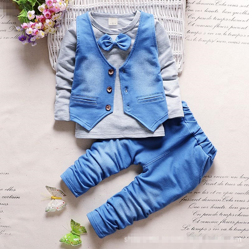 New fashion children bowtie clothing suits kids casual T-shirt+vest+ pant 3Pcs/set boys girls autumn & spring wear. brand new spring autumn girls t shirt long sleeves clothing children blue cute casual tshirt bottoming shirt top tees gh047