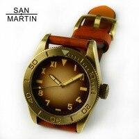 Сан Мартин Новый Для Мужчин's Винтаж латунь часы Дайвинг часы автоматическое перемещение Для мужчин t сапфир Стекло 200 м Водонепроницаемый 41