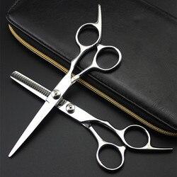Profissional 6 polegada japão 4cr tesoura de corte cabelo salão de beleza tesoura makas barbeiro desbaste tesouras cabeleireiro