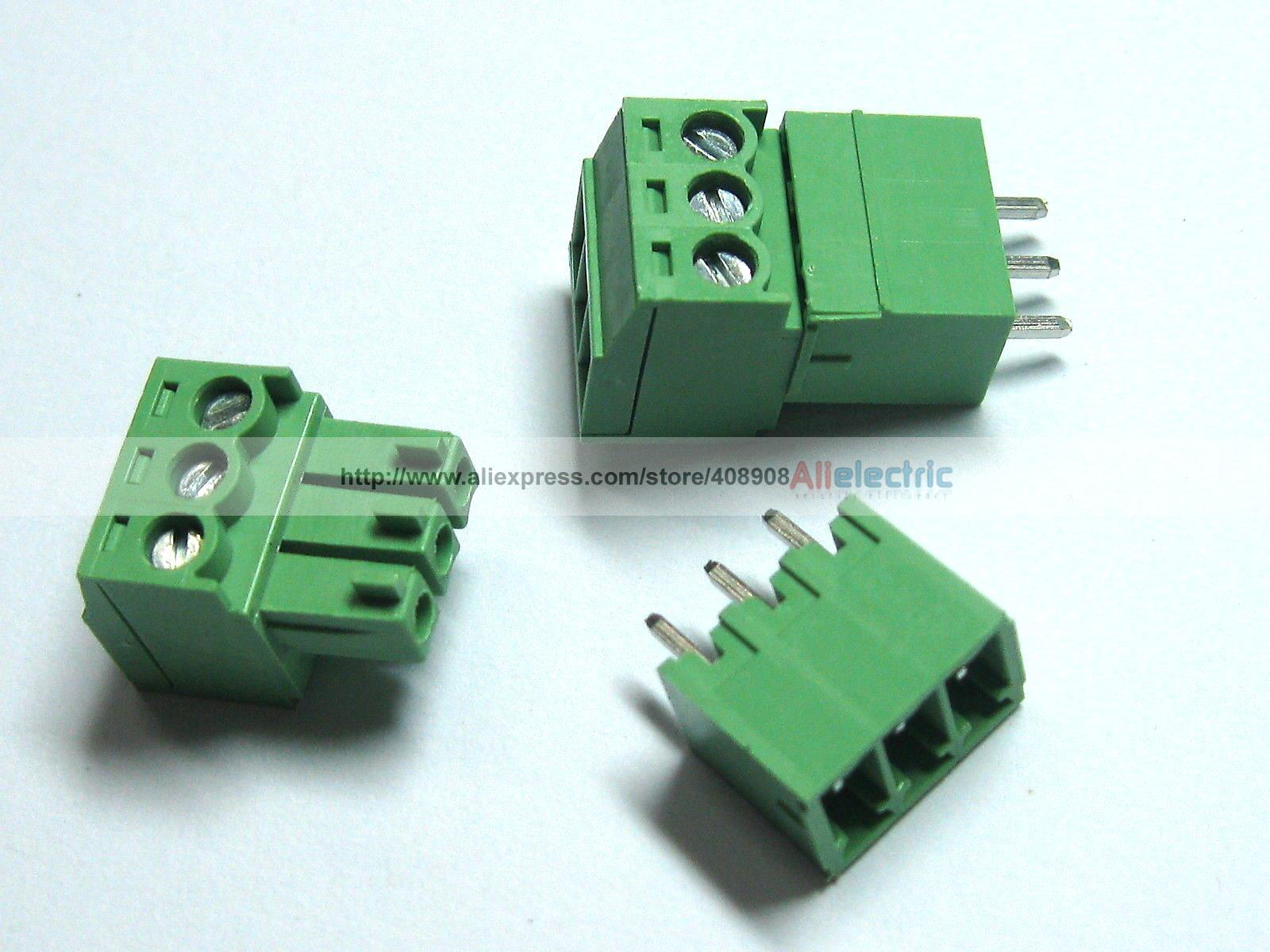 150 Pcs Screw Terminal Block Connector 3.5mm 3 Pin Way Green Pluggable Type 30 pcs screw terminal block connector 3 81mm 12 pin green pluggable type