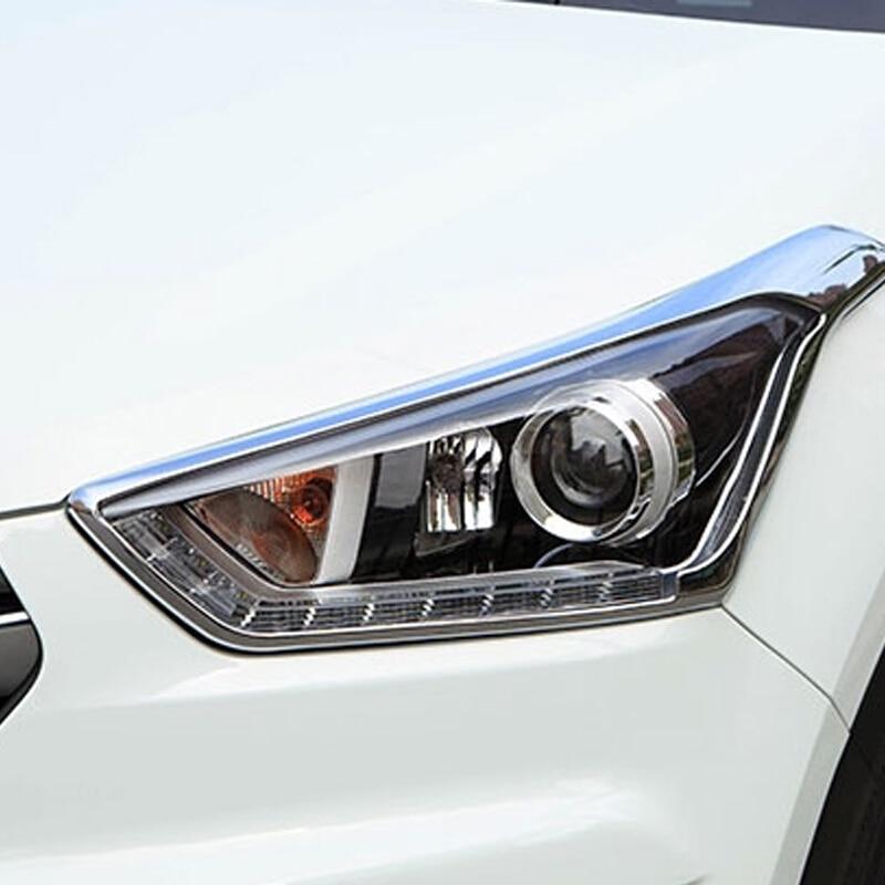 ABS Chrome For Hyundai Creta 2015 2016 2017 2018 accessories car styling Car Headlamps cover Cover Trim