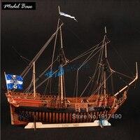 Wooden Ship Models Kits DIY Educational Toy Model Boats Wooden 3d Laser Cut Train Hobby Scale 1/48 La Belle 1682 Full Ribs Model