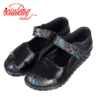 Xiuteng 2017 Brand Women Shoes Flat 100 Authentic Leather Plain Toe Embroider Shoes Flats Woman Moccasins