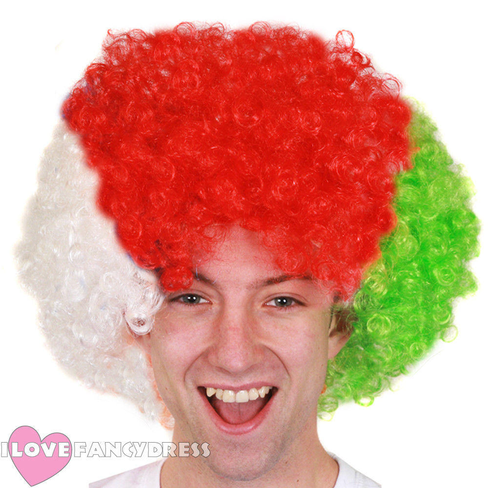 I LOVE FANCY DRESS 2018 WHITE RED GREEN AFRO WIG WELSH FLAG EURO FOOTBALL RUGBY SUPPORTER FANCY DRESS