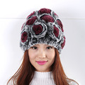 winter women's hats round fashion warm Rose decoration Cute  Cozy Mixed colors cap warm winter hat  Fur Hat Women