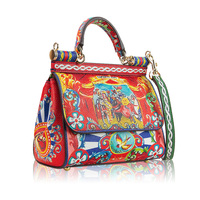 BENVICHED 2018 New Luxury Prince Sicily Handbag leather Printing Women Shoulder Bag Diagonal package female Top hand Bags L121