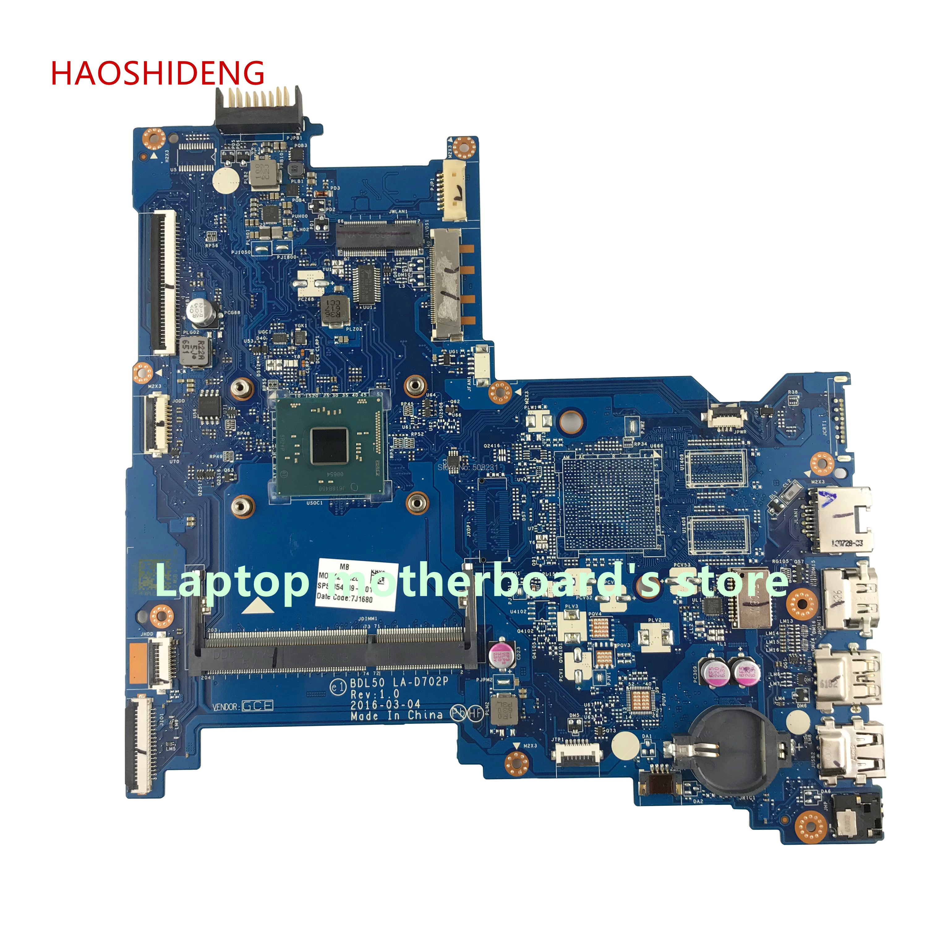 HAOSHIDENG 854949-601 BDL50 LA-D702P mainboard for HP NOTEBOOK 15-AC 15-AY 15-15-AY083NR laptop motherboard with N3160 processor free shipping 854949 601 bdl50 la d702p for hp notebook 15 ay series motherboard with n3160 cpu all functions 100