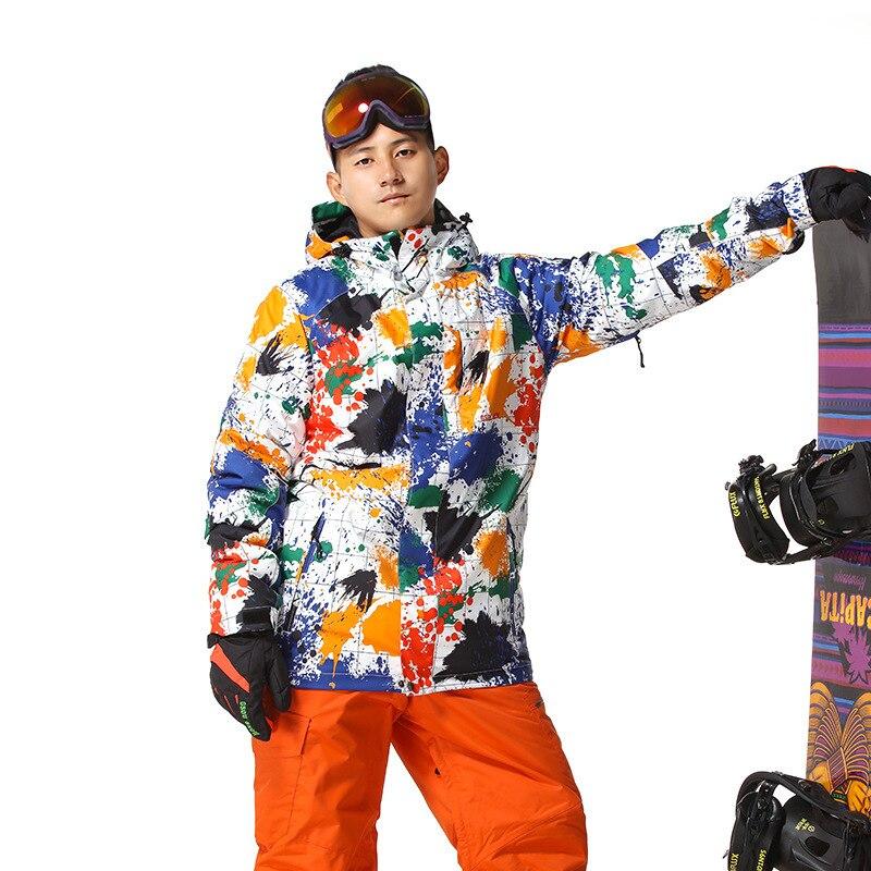 GSOU neige hiver extérieur veste de Snowboard pour hommes garder au chaud vestes de Ski Splash ink combinaison de ski imperméable coupe-vent camping manteau de neige