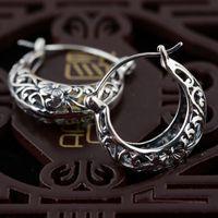 925 Srebrny Hoop Kolczyk Kwiat Kobiety 100% S925 Sterling Silver boucle d'oreille Kolczyki boże narodzenie