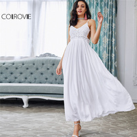 COLROVIE White Lace Maxi Party Dress Ruffle V Neck 2017 Women Sexy Backless Slip Summer Dresses