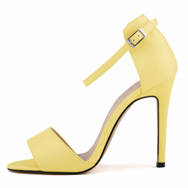 LOSLANDIFEN Women NEW Fashion Ankle Strap Sandles Lady High Heels PU Leather Matte Open Toe BUCKLE Office Summer Shoes 102-2MA