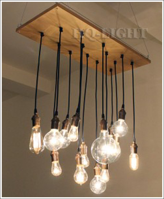 new log with 14 x difference carbon filament edison bulbs chandelier lamp suspension free. Black Bedroom Furniture Sets. Home Design Ideas