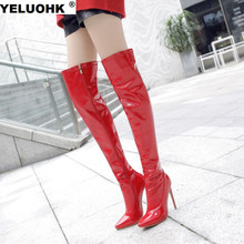 Large Size 43 Pointed Toe Thigh High Boots Fashion Patent Leather Over The Knee Boots Women High Heels Winter Shoes Women Pumps(China)