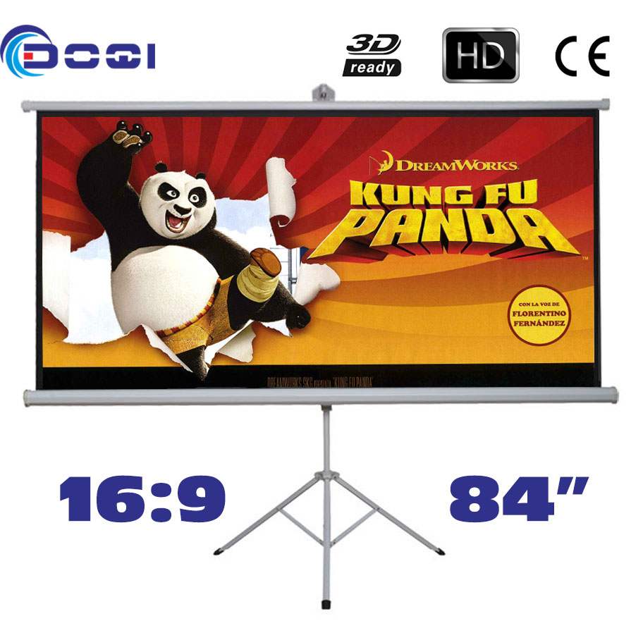Tripod Portable Projection Screen HD 84 inches 16:9 Floor stand Bracket Projector Screens Matt White Factory Supply portable 100 inches 16 9 tripod projection screen hd floor stand bracket projector screens matt white factory supply