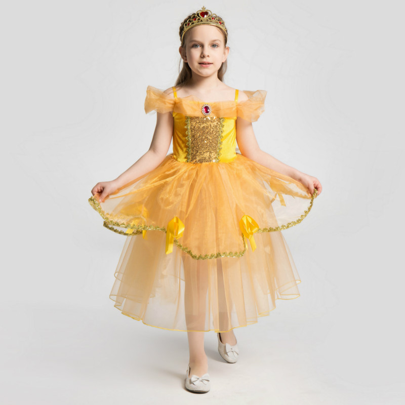 Girls Fairy Tales Beauty And The Beast Princess Belle Party Fancy Dress Halloween Cosplay Carnival Costume