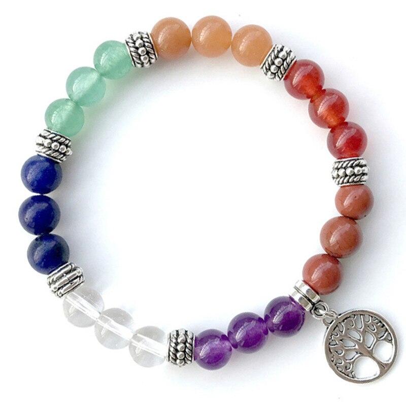 DIEZI Yoga Jewelry 7 Chakra Bracelet tree of life Charm Strand Bracelet Men Natural Stones Beads Bracelets & Bangles For Women