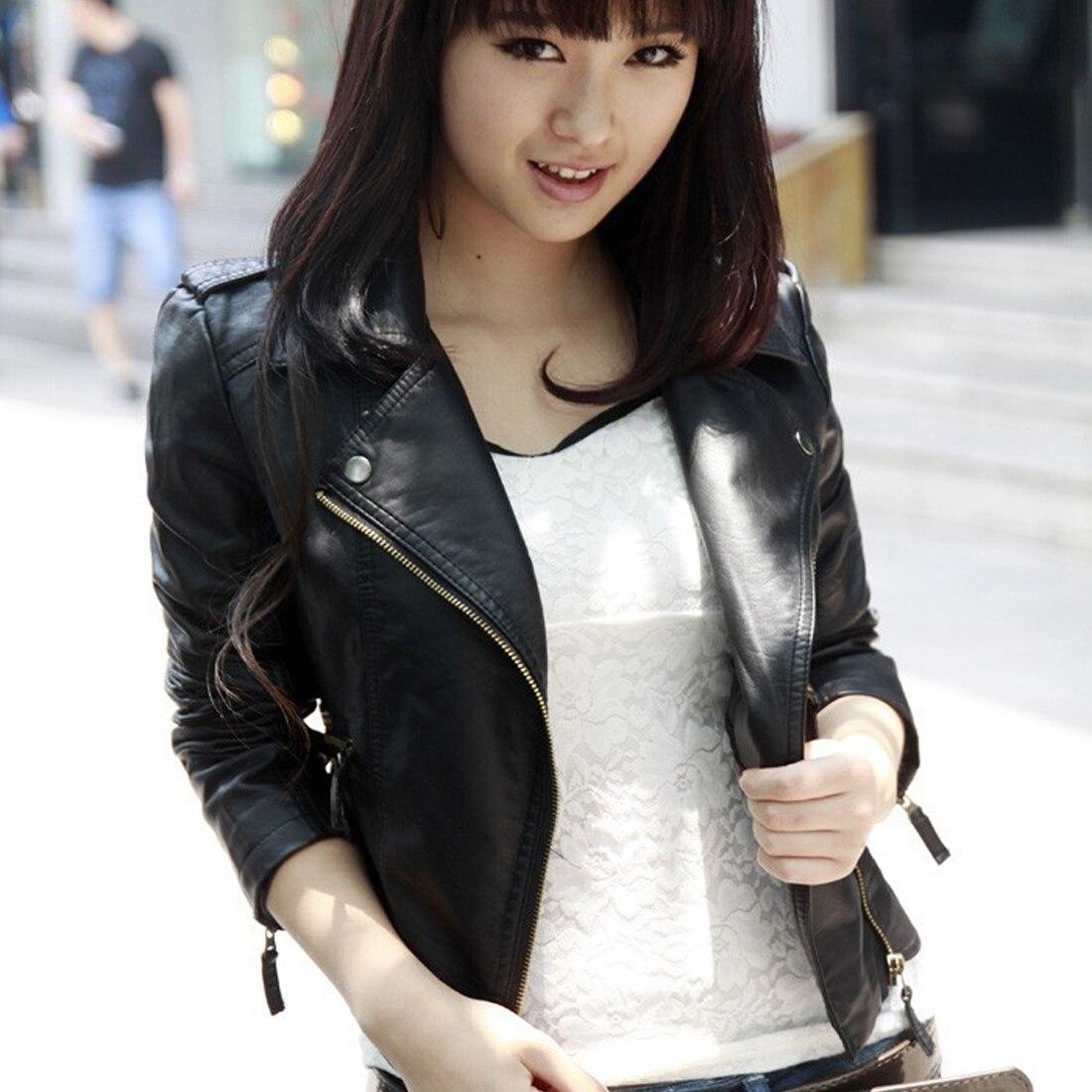 Classic Black PU Leather Jacket Women Cool Slim Short Motorcycle Jackets Ladies Autumn Zipper Coat Basic Outerwear Top casaco