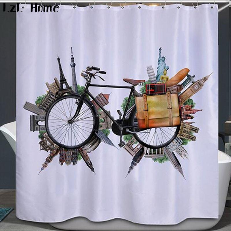 3D Fahrrad Duschvorhang Hochwertigem Polyester Fashion Fahrzeug Modelle  Vorhänge Wasserdicht Home Bad Vorhang Mit 12 Haken