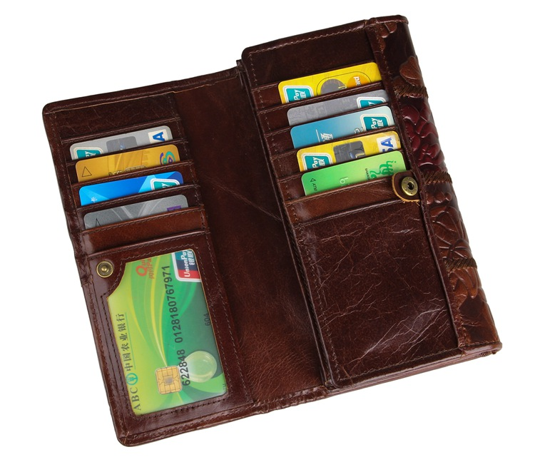 JMD Genuine Leather Folded Wallet Coin Purse Fashional Three Colors Mixed Long Wallet Credit Card Holder For Women 8094-3C