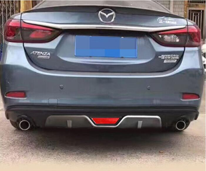 ABS <font><b>REAR</b></font> TRUNK LIP SPOILER DIFFUSER EXHAUST <font><b>BUMPER</b></font> PROTECTOR <font><b>COVER</b></font> FOR 14-17 <font><b>MAZDA</b></font> <font><b>6</b></font> ATENZA M6 2014 2015 2016 2017 BY EMS image
